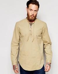 Классическая рубашка милитари песочного цвета с дизайном через голову Asos