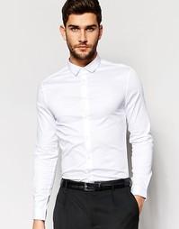 Зауженная атласная рубашка с длинными рукавами ASOS - Белый