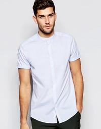 Голубая фактурная рубашка с воротником с застежкой на пуговицах ASOS