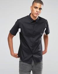 Черная рубашка со вставками и коротким рукавом ASOS - Черный