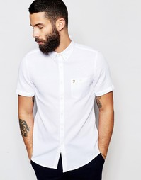 Рубашка слим с вафельной текстурой и короткими рукавами Farah - Белый