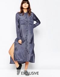 Платье-рубашка макси под атлас Native Youth - Серый сланец