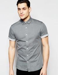 Светло-серая джинсовая рубашка скинни с короткими рукавами ASOS