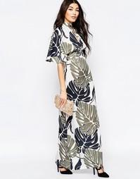 Платье макси с рукавами‑кимоно и крупными листьями Liquorish
