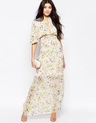 Платье макси с рукавами кимоно и цветочным принтом Liquorish