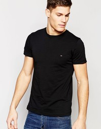 Эластичная черная футболка слим с логотипом-флажком Tommy Hilfiger