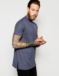 Удлиненная футболка-водолазка кроя слим из темно-синего меланжевого тр Asos