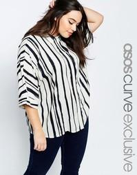 Oversize-рубашка в крашеную полоску ASOS CURVE - Черно-белые полоски