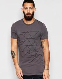 Серая эластичная футболка с принтом ASOS - Gull grey (серый)