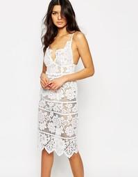 Белое кружевное платье миди For Love and Lemons Gianna - Белый