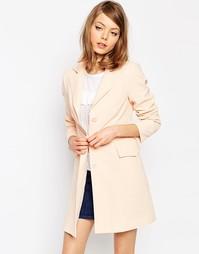 Пальто со швами в стиле ретро ASOS - Телесный