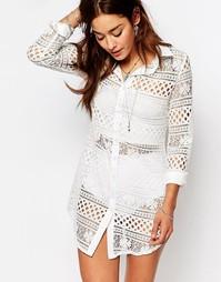 Кружевное платье-рубашка с длинными рукавами Missguided - Белый