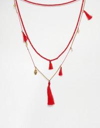 Ожерелье с монетами и кисточками Love Rocks - Красный