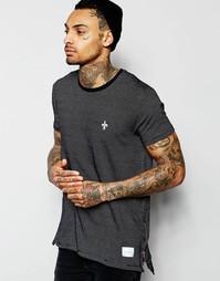Длинная футболка с молниями по бокам Criminal Damage - Черный