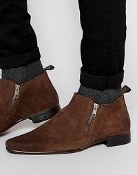 Коричневые замшевые ботинки челси на молнии ASOS - Коричневый