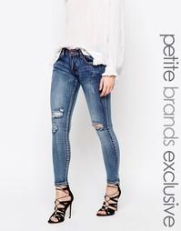 Супероблегающие джинсы с заниженной талией и прорехами на коленях Liqu Liquor &; Poker Petite