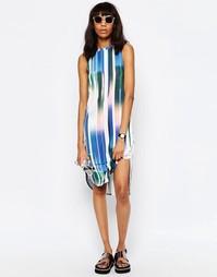 Платье-футболка миди в цифровую полоску без рукавов ASOS - Мульти