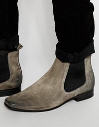 Серые замшевые ботинки челси с петлей на заднике ASOS - Серый