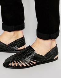 Черные кожаные сандалии с плетеным дизайном ASOS - Черный