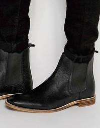 Черные кожаные ботинки челси ASOS - Черный