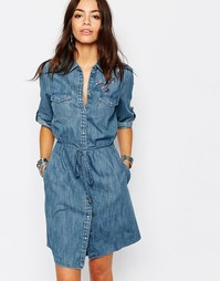 Джинсовое платье-рубашка с вышивкой Esprit - Синий деним