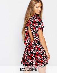 Платье в цветочек с открытой спиной и высокой горловиной Reclaimed Vin