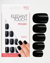 Квадратные накладные ногти Elegant Touch - Jet black
