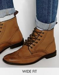 Светло-коричневые кожаные ботинки для широкой стопы ASOS - Рыжий