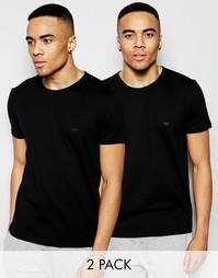2 облегающие хлопковые футболки с круглым вырезом Emporio Armani