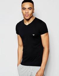 Хлопковая футболка с v-образным вырезом Emporio Armani - Черный