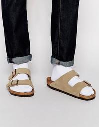 Замшевые сандалии Birkenstock Arizona - Бежевый
