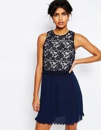 Платье миди с кружевом на топе и плиссировкой ASOS - Темно-синий