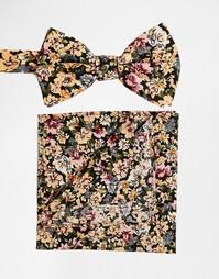 Галстук-бабочка и платок для пиджака с цветочным принтом ASOS - Мульти