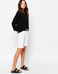 Джинсовые классические шорты выше колена с манжетами J.D.Y - Белый JDY