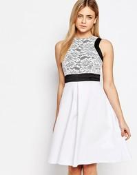 Приталенное платье миди с кружевным лифом 2 в 1 Vesper
