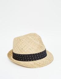 Соломенная шляпа с круглой плоской тульей и лентой в цветочек ASOS
