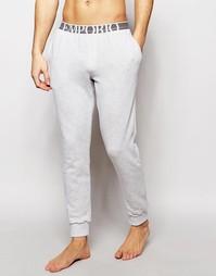 Спортивные махровые брюки слим с манжетами Emporio Armani - Серый