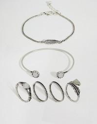 Браслет-манжета и набор колец ASOS - Шлифованный серебряный