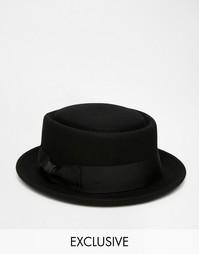 Шляпа из шерсти с круглой плоской тульей Reclaimed Vintage - Черный