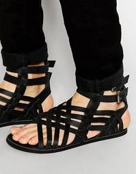 Черные кожаные гладиаторские сандалии ASOS - Черный