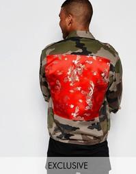 Куртка в стиле милитари с шелковистой вставкой Reclaimed Vintage