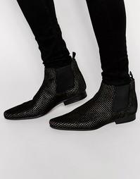 Черные замшевые ботинки челси с золотистой перфорацией ASOS - Черный