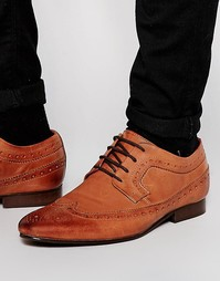 Кожаные туфли-броги коричневого цвета ASOS - Рыжий