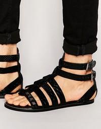 Черные кожаные гладиаторские сандалии со змеиным рисунком и заклепками Asos