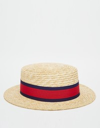 Соломенная шляпа канотье ASOS - Естественный