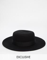 Шерстяная шляпа с широкими полями Reclaimed Vintage - Черный