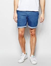 Эластичные джинсовые шорты чиносы синего цвета ASOS - Умеренный синий