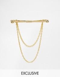 Зажим для галстука с цепочками Reclaimed Vintage - Золотой