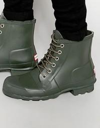 Резиновые ботинки на шнуровке Hunter Original - Зеленый