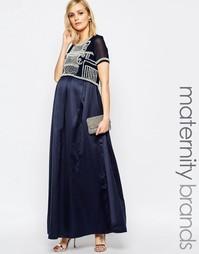 Платье макси для беременных с декорированным лифом Maya Maternity